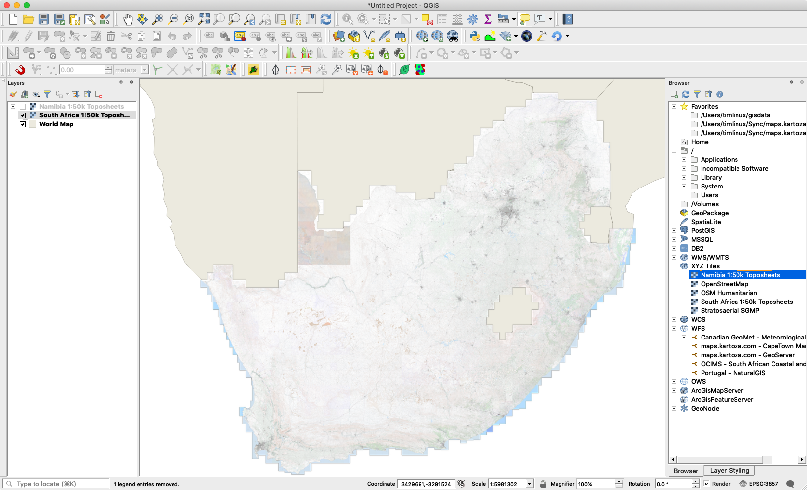 Drag the map layer into the QGIS Canvas